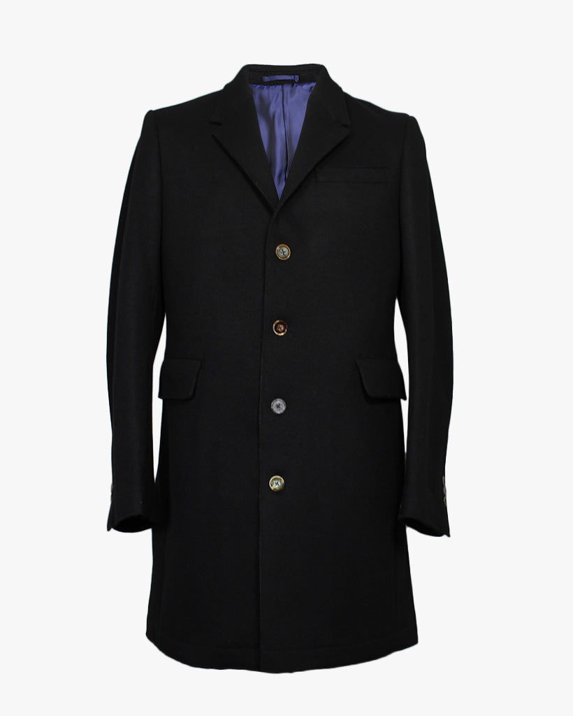 Black Melton Raw Edge Overcoat - Holland Esquire
