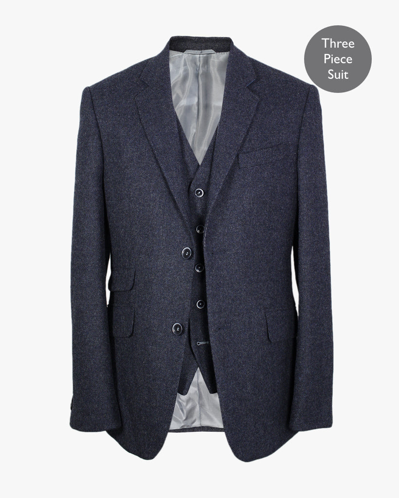 Blue Plain Lambswool Three Piece Suit