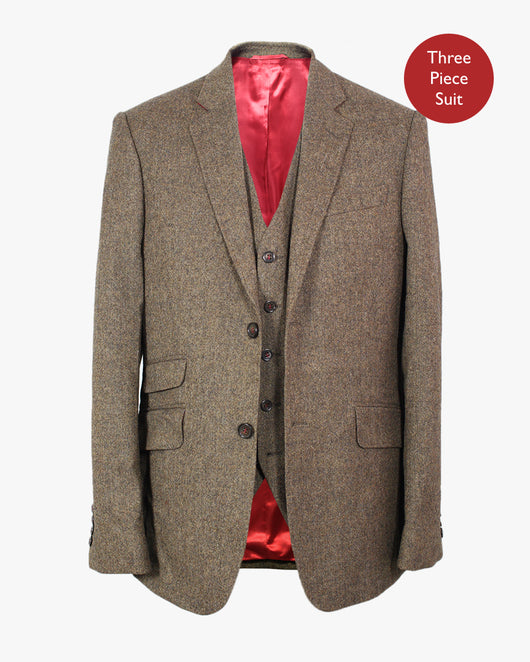 Brown Donegal Lambswool Three Piece Suit - Holland Esquire