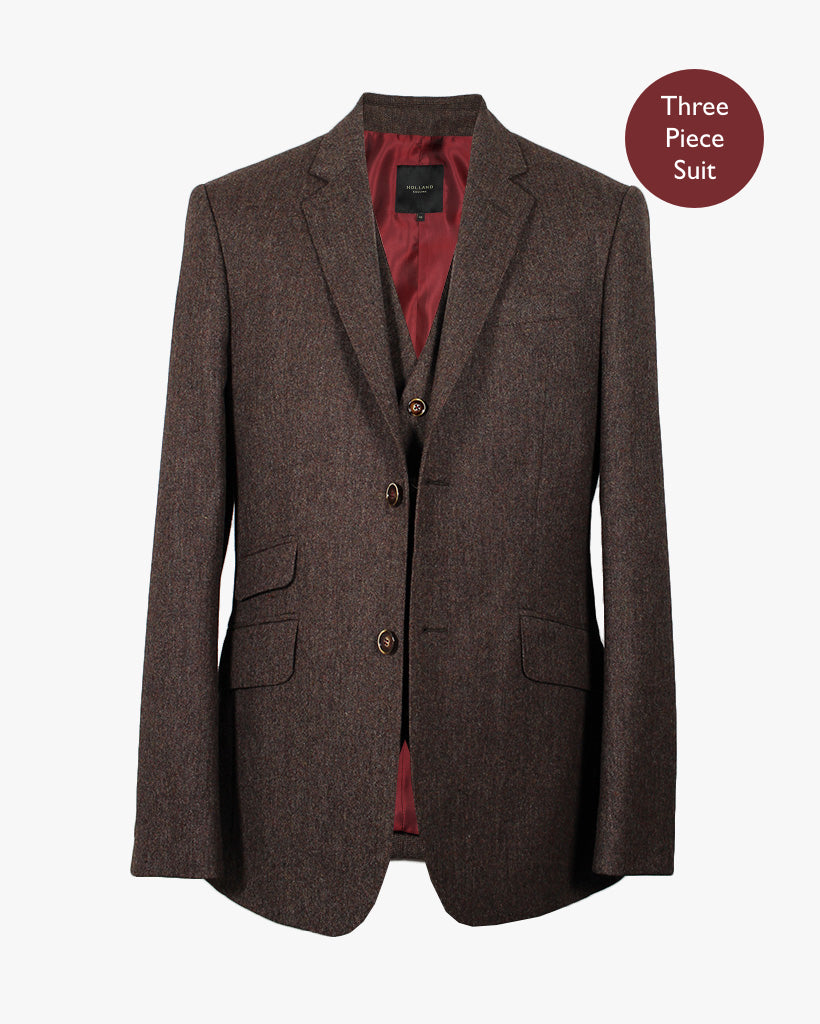Brown Donegal Three Piece Suit - Holland Esquire