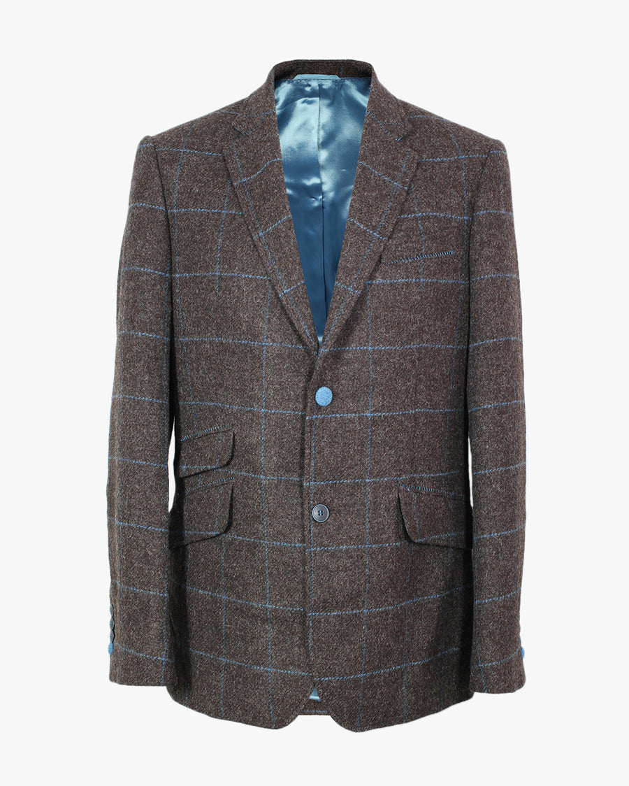 Brown and Ocean Windowpane Overcheck Reginald Jacket - Holland Esquire