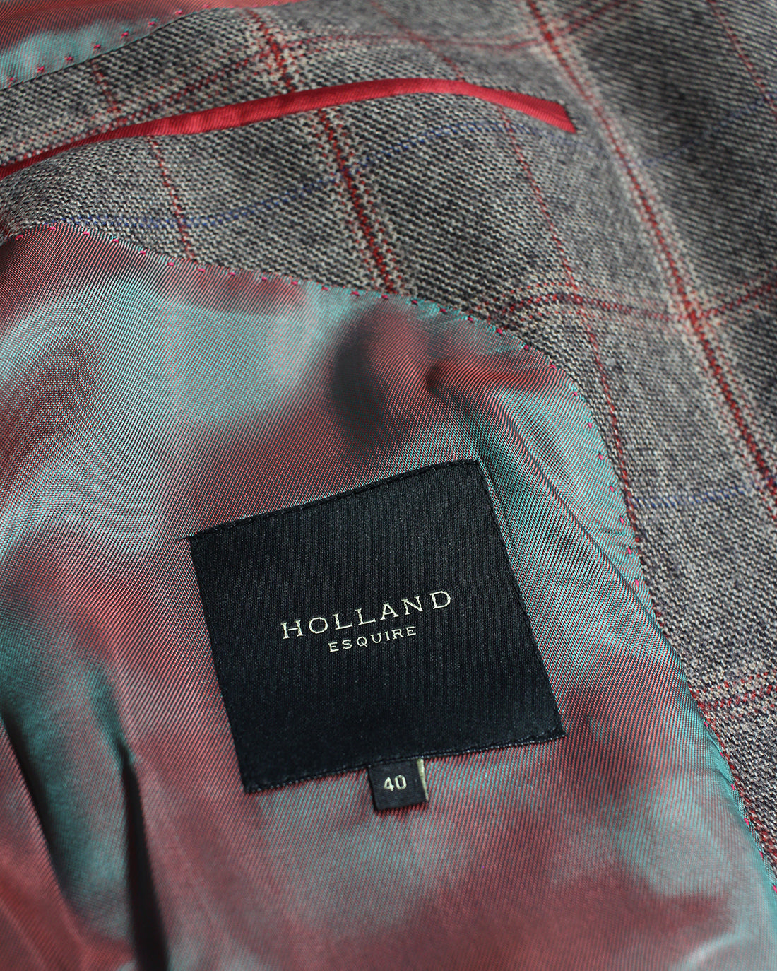 Brown and Red Windowpane Reginald Jacket - Holland Esquire