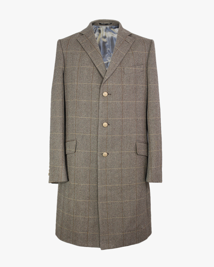 Brown Windowpane SB3 Overcoat - Holland Esquire