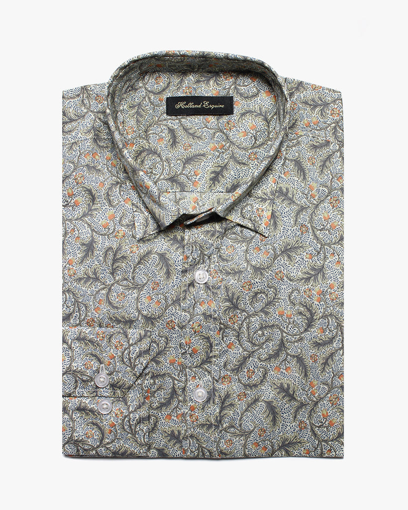 White Liberty Paisley Button Under Shirt - Holland Esquire