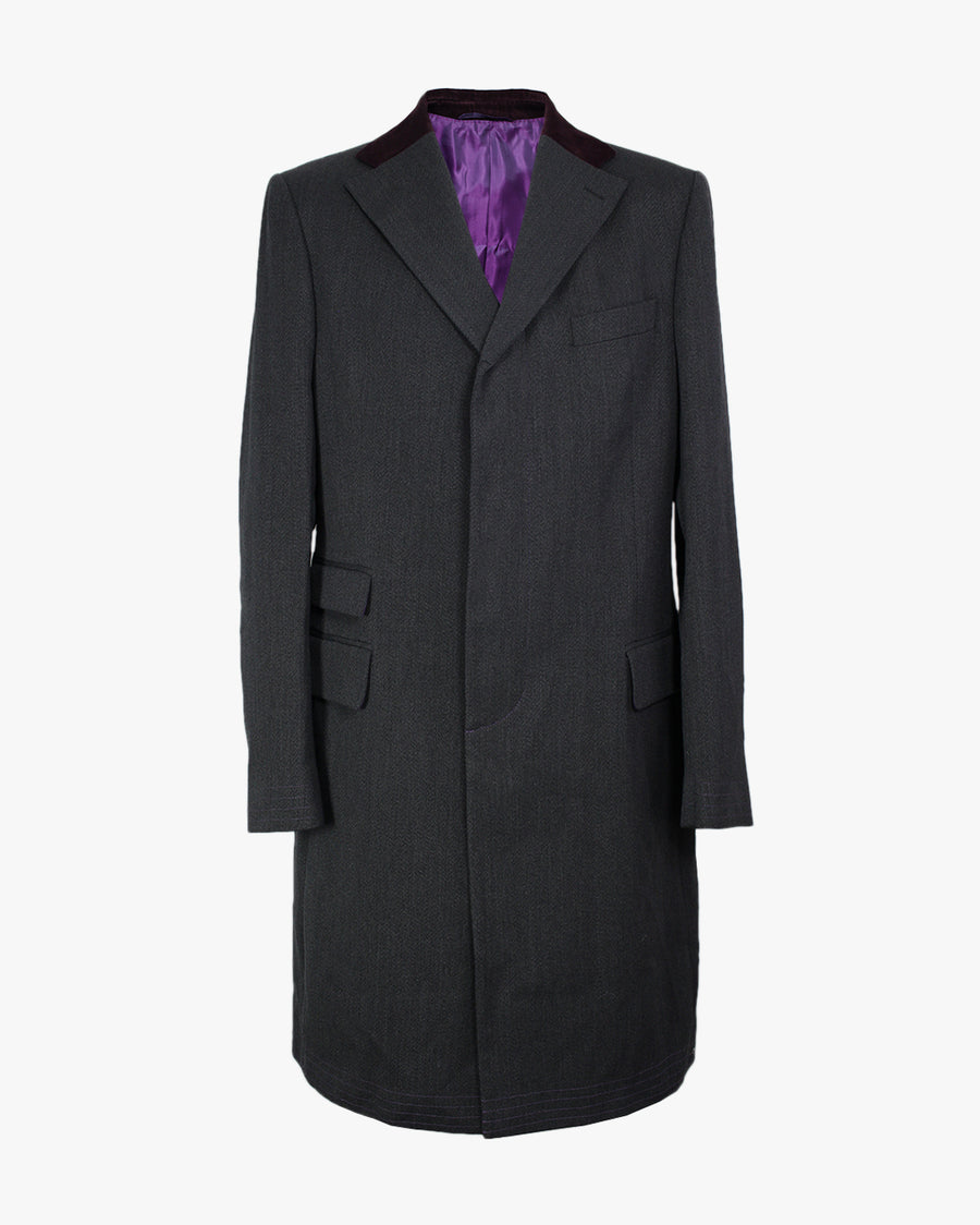 Charcoal Covert Coat - Holland Esquire