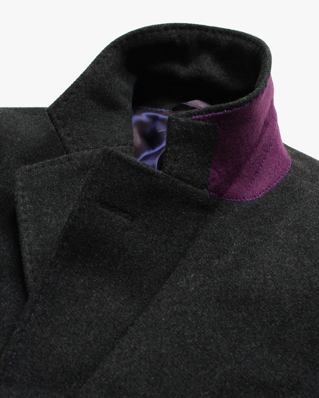 Charcoal Melton SB3 Overcoat - Holland Esquire
