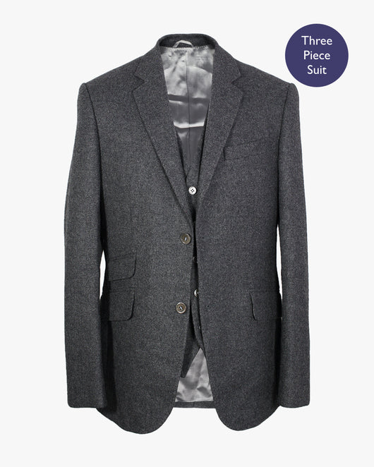 Charcoal Plain Lambswool Three Piece Suit