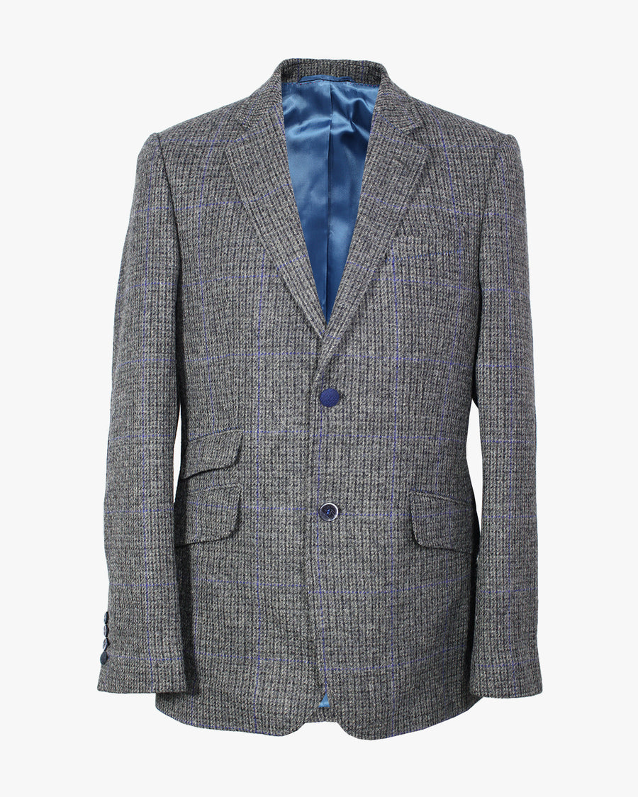 Grey Blue Dogstooth Reginald Jacket