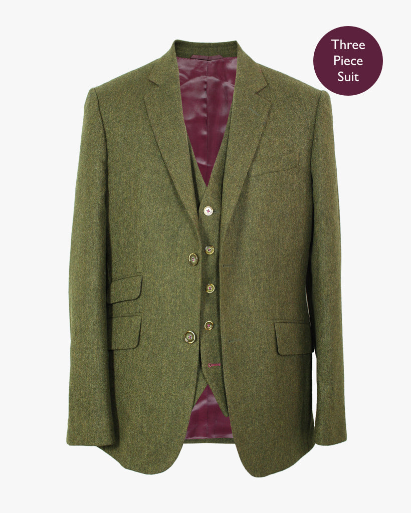 Green Donegal Lambswool Three Piece Suit - Holland Esquire