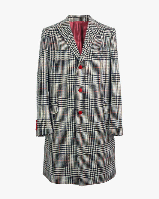 Black & White Giant Prince Of Wales Check SB3 Overcoat - Holland Esquire