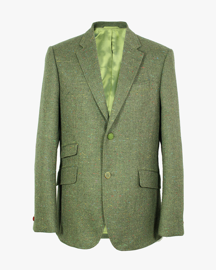 Green Herringbone Donegal Reginald Jacket - Holland Esquire