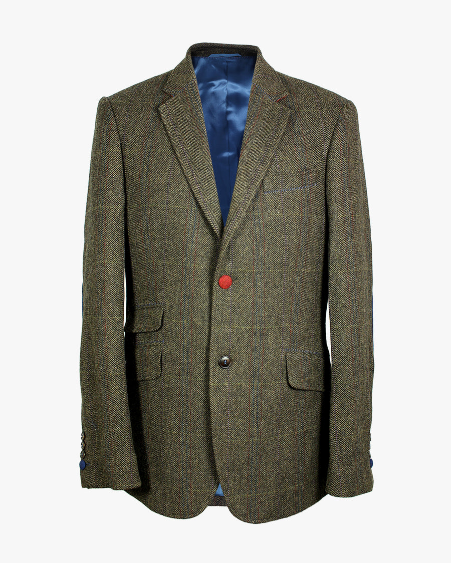 Green Herringbone Overcheck Reginald Jacket - Holland Esquire