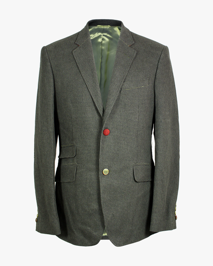 Green Moleskin Gingham Reginald Jacket - Holland Esquire