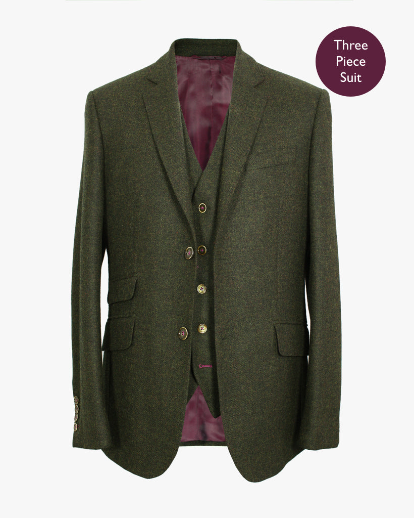 Green Plain Lambswool Three Piece Suit - Holland Esquire