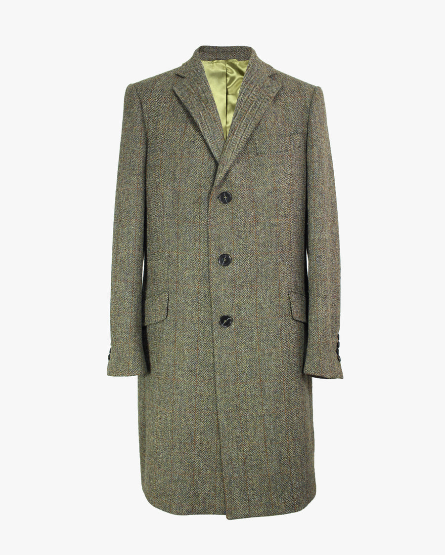 Olive Herringbone SB3 Overcoat - Holland Esquire