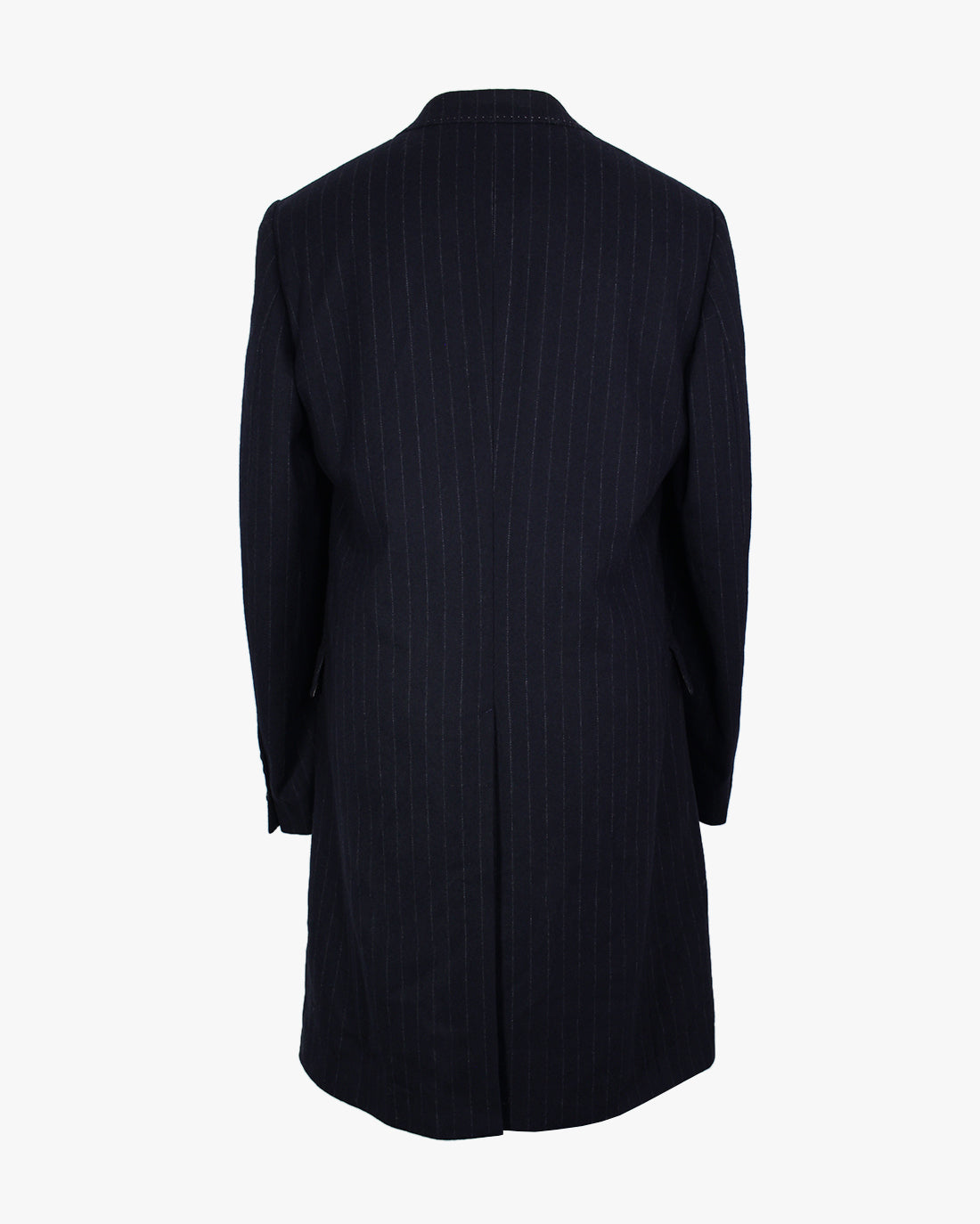 Navy pinstripe Double Breasted Overcoat