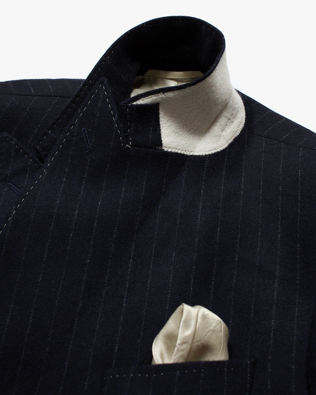 Navy pinstripe Double Breasted Overcoat - Holland Esquire