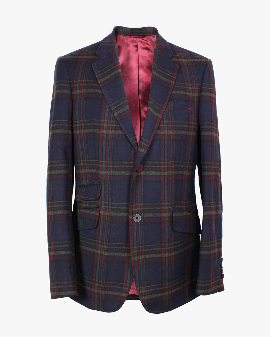 Navy Plaid Reginald Jacket - Holland Esquire