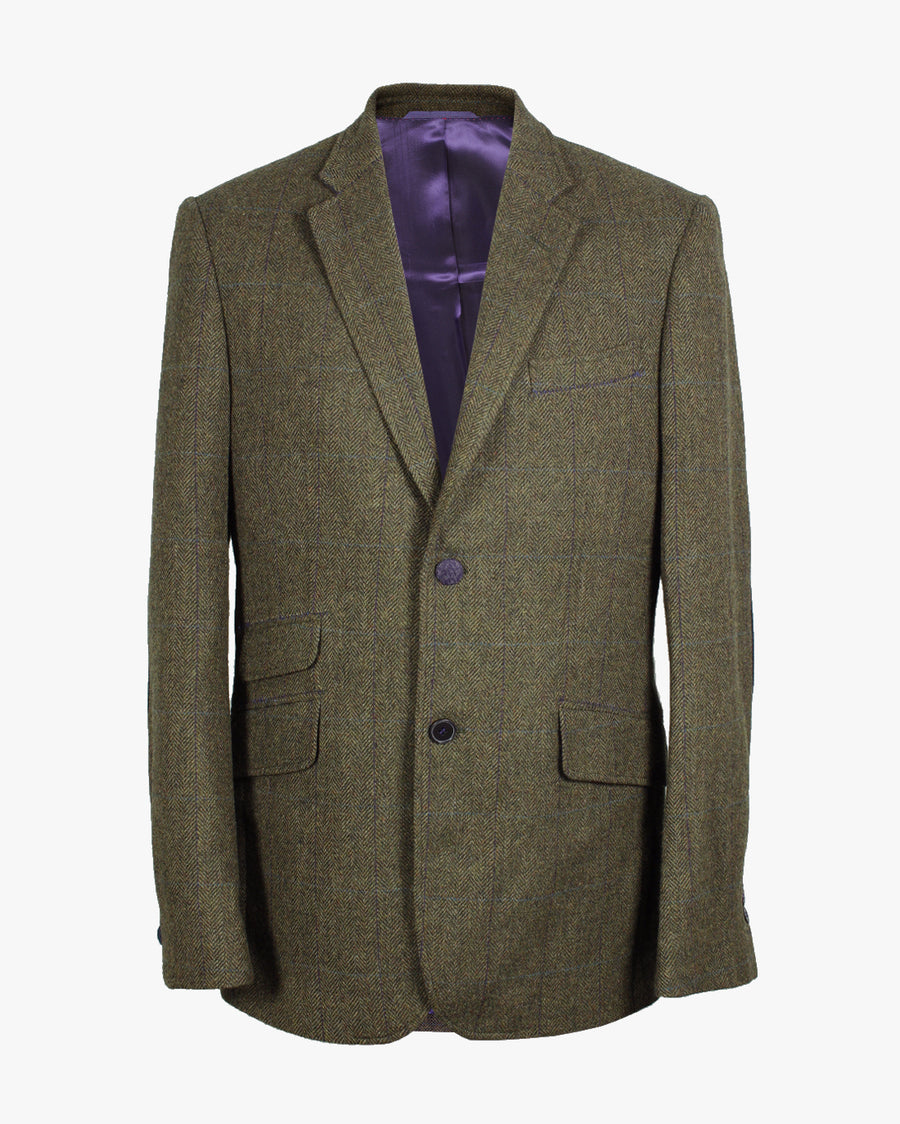 Olive Herringbone Overcheck Reginald Jacket - Holland Esquire