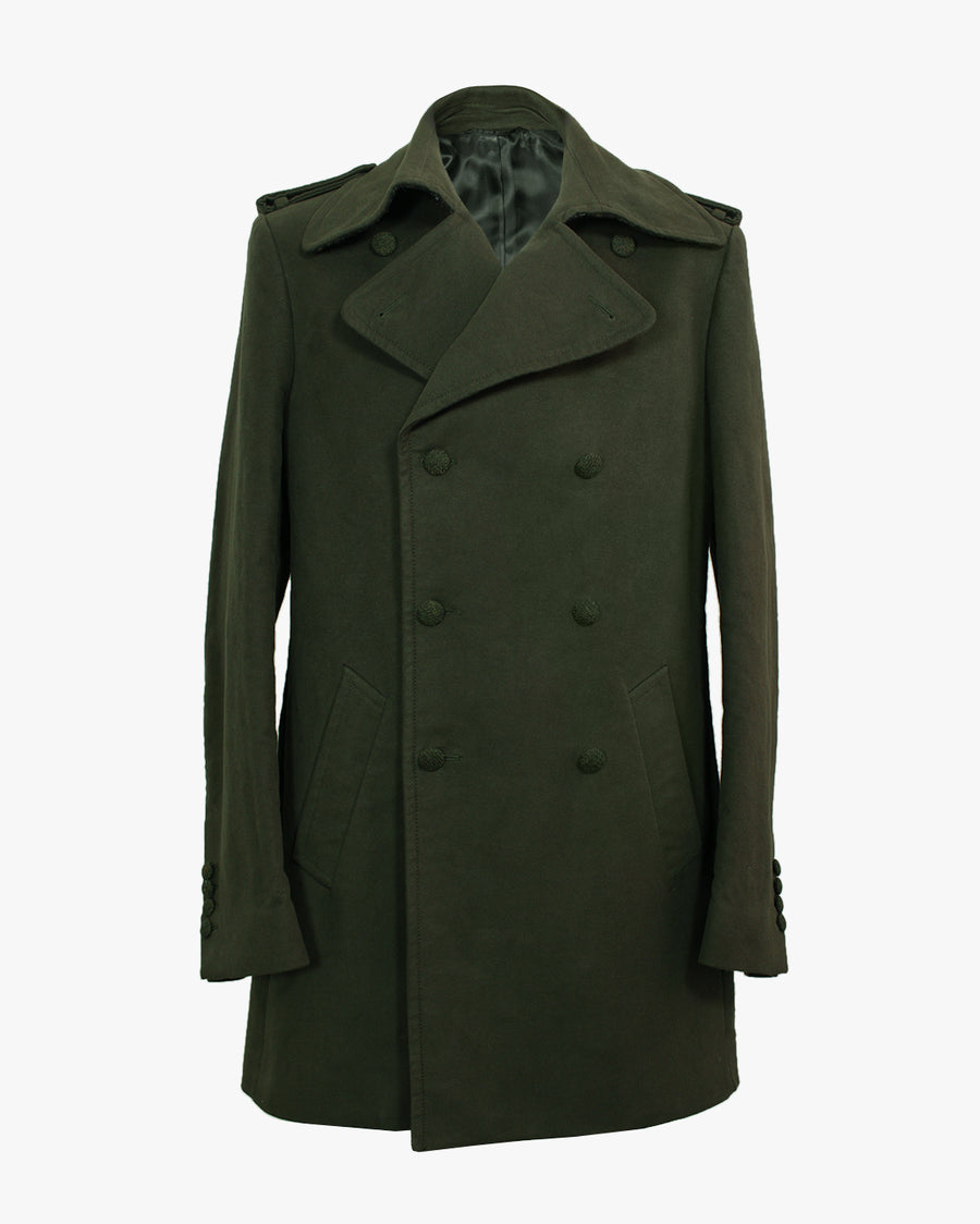 Olive Moleskin Peacoat - Holland Esquire