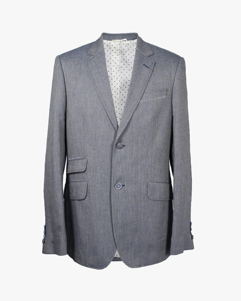 Blue Herringbone Reginald Jacket