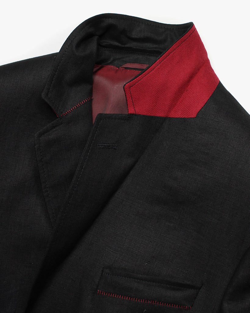 Black Linen Reginald Jacket