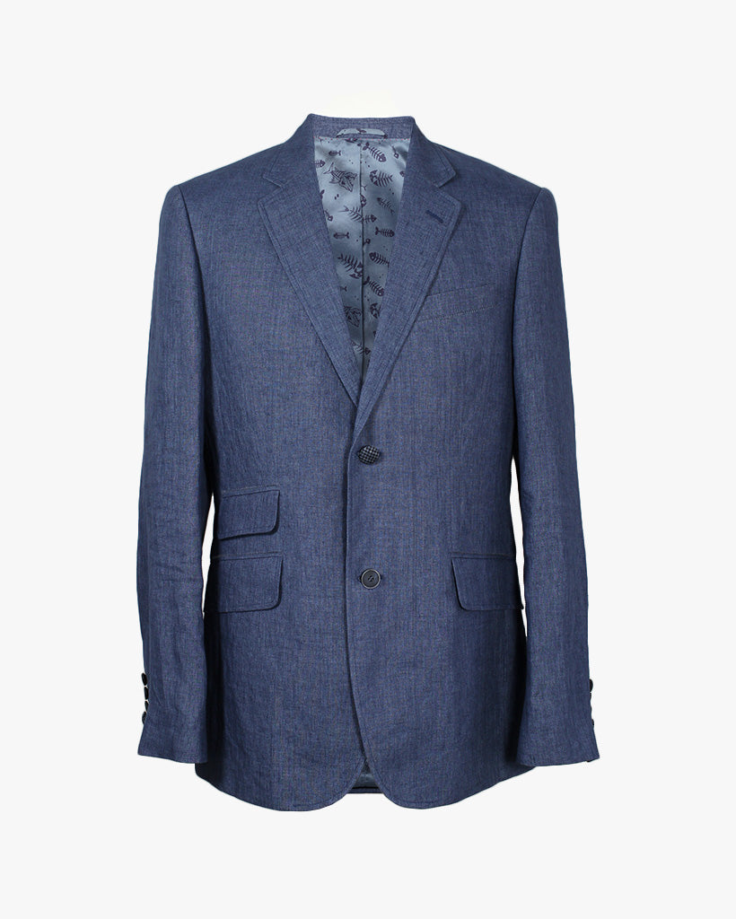 Blue Washed Linen Reginald Jacket