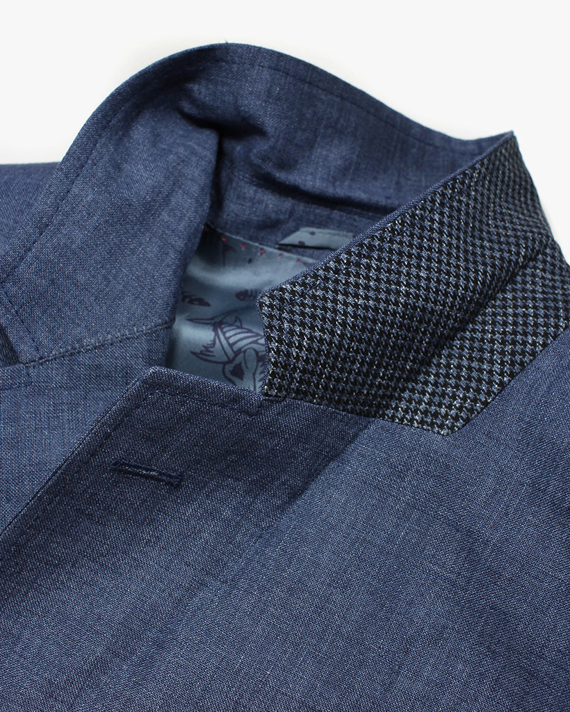 Blue Washed Linen Reginald Jacket - Holland Esquire