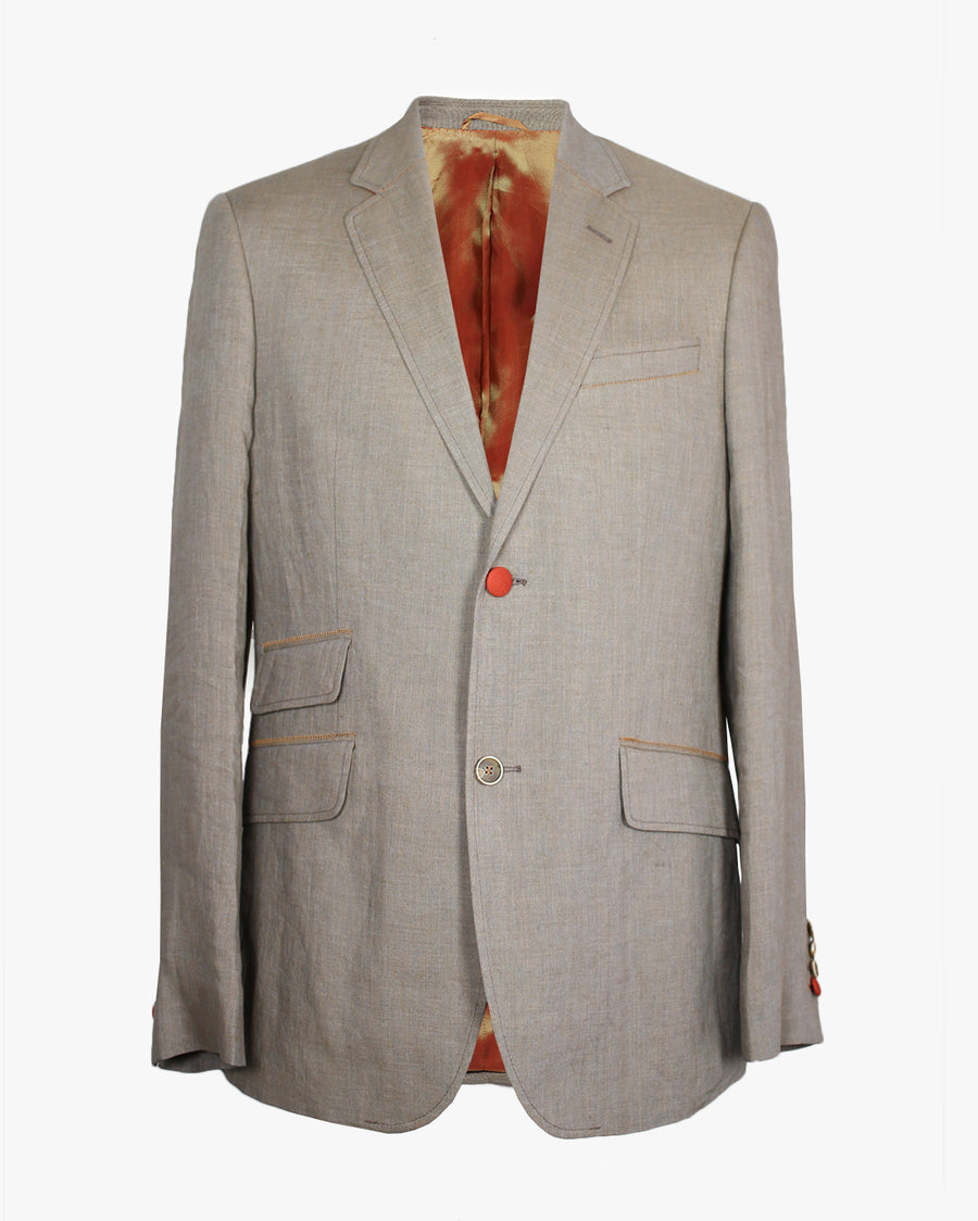 Putty Washed Linen Reginald Jacket - Holland Esquire