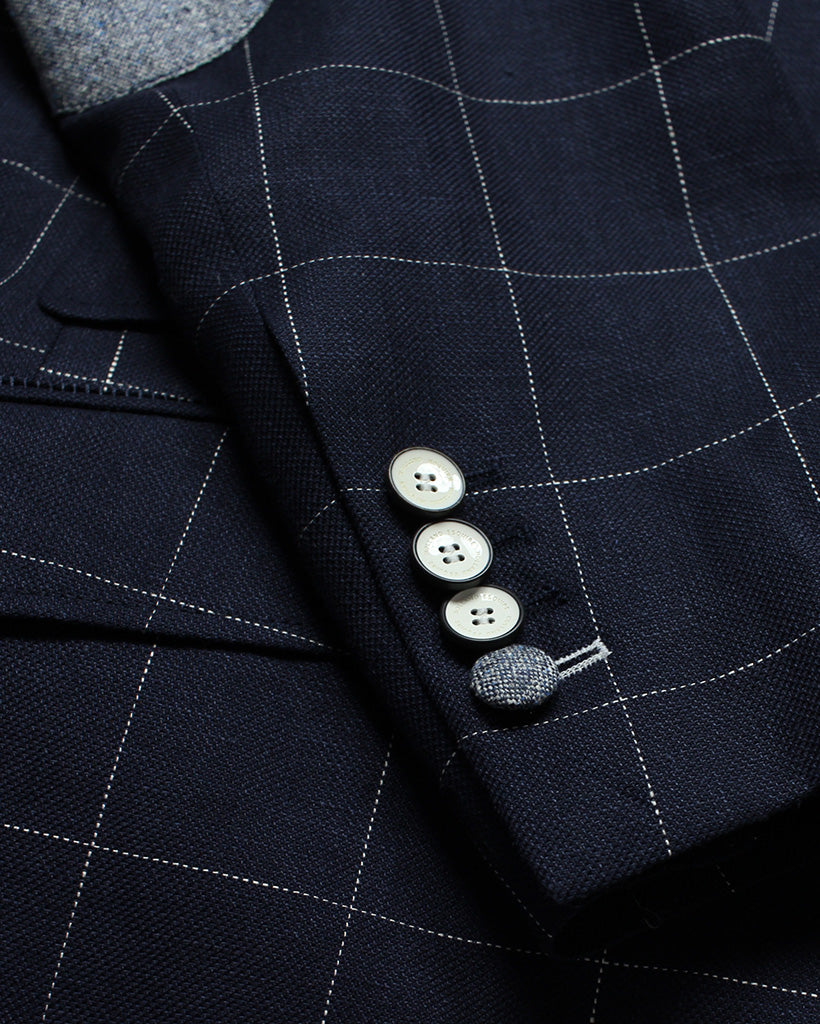 Navy Windowpane Reginald Jacket - Holland Esquire