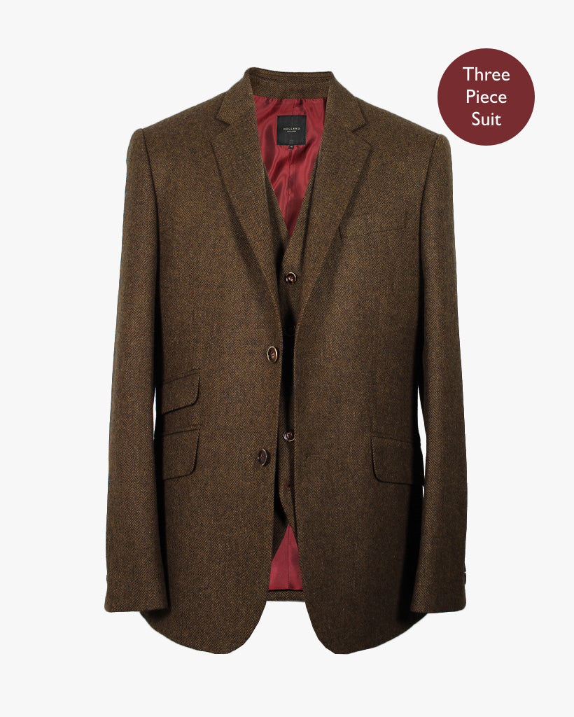Rust Herringbone Three Piece Suit ...