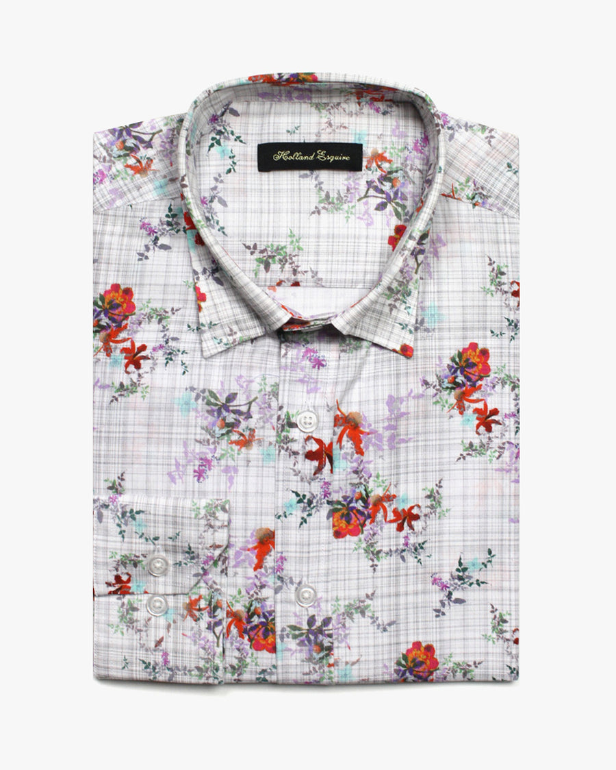 White Liberty Flower Check Button Under Shirt - Holland Esquire