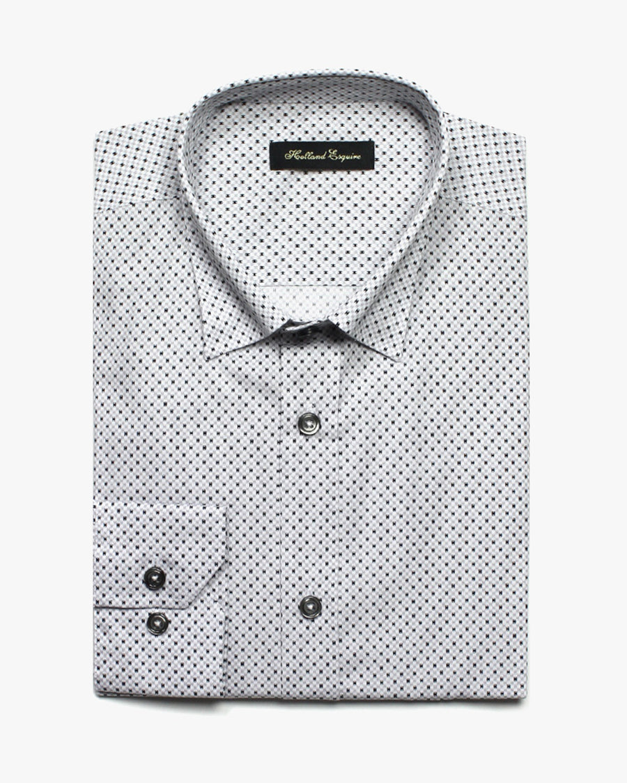 White Liberty Space Invader Button Under Shirt - Holland Esquire