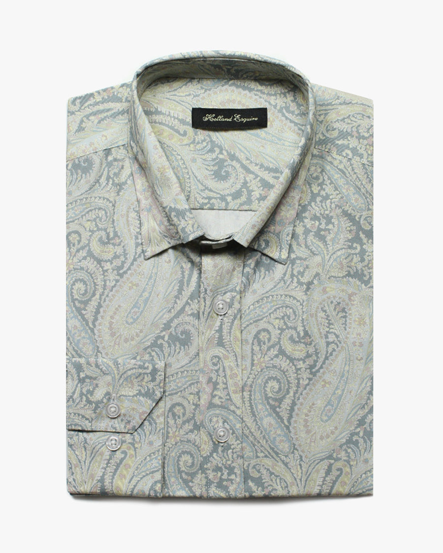 Sky Liberty Paisley Button Under Shirt - Holland Esquire