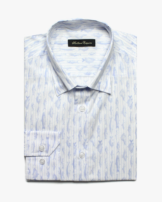 White Liberty Fish Stripe Button Under Shirt - Holland Esquire