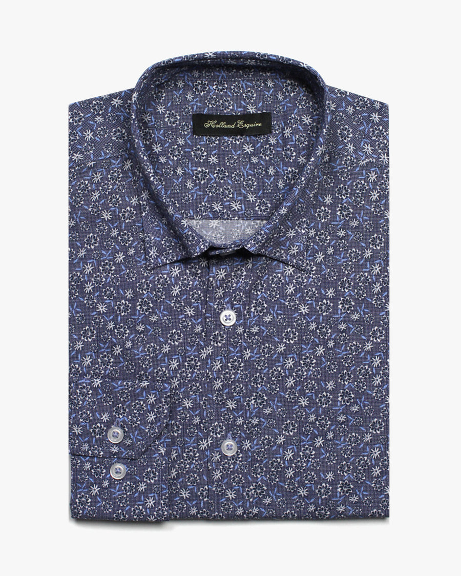 Blue Liberty Birds Eye Daisy Button Under Shirt - Holland Esquire