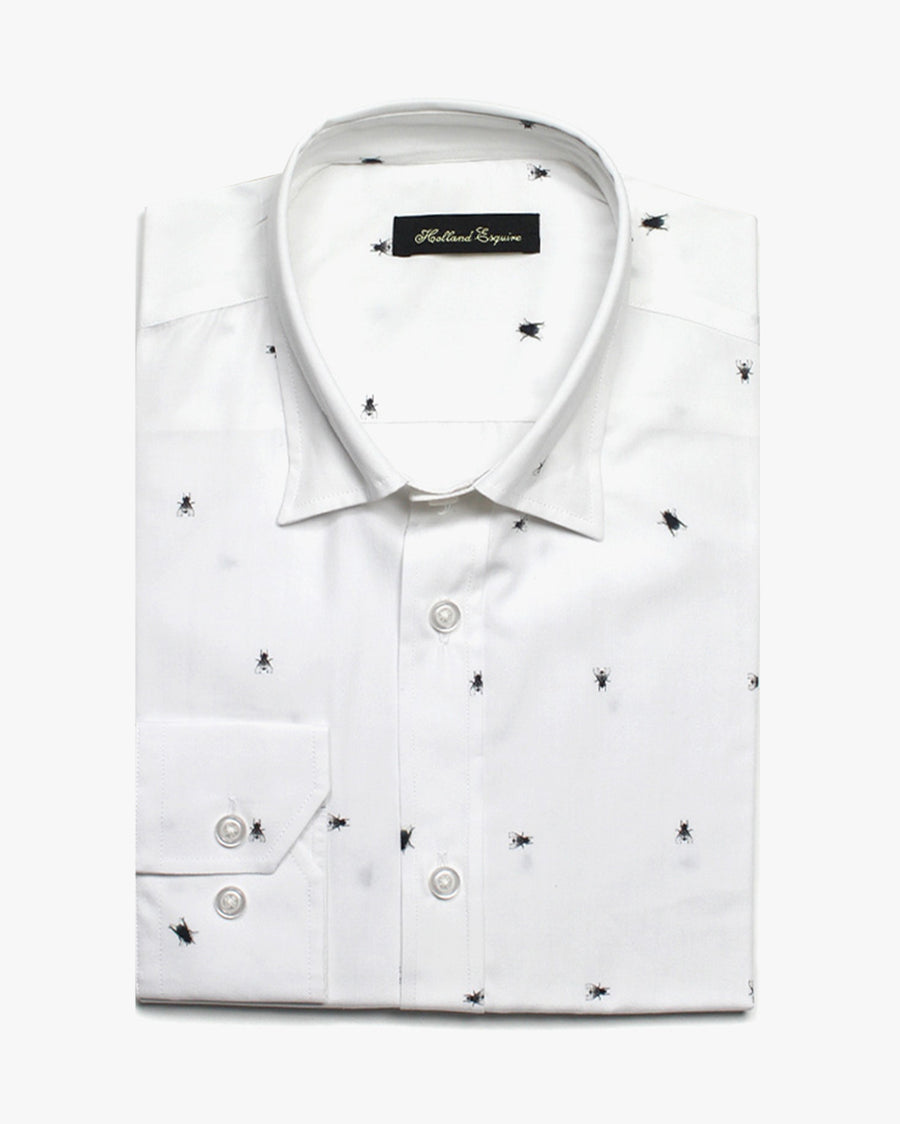 White Liberty Fly Button Under Shirt - Holland Esquire