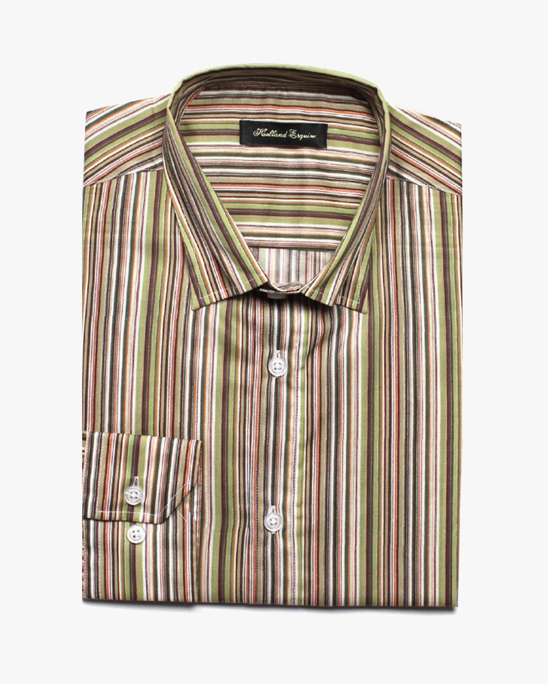 Green Liberty Stripe Button Under Shirt - Holland Esquire