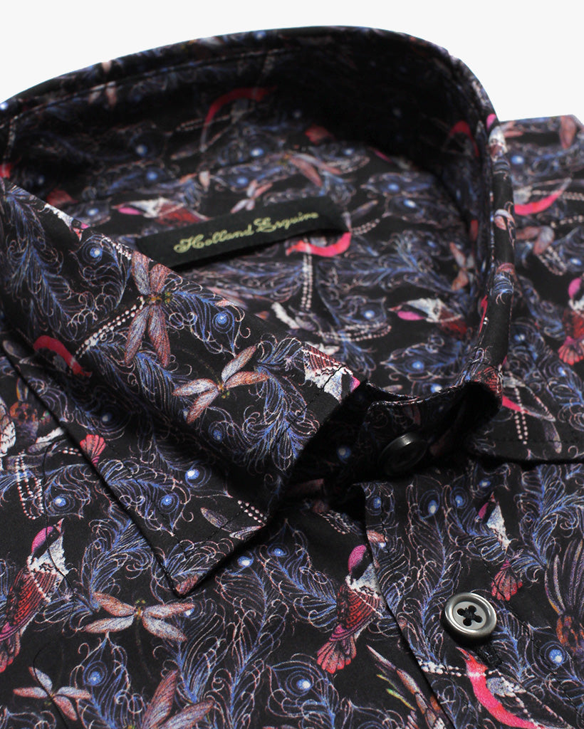 Purple Liberty Birdy Button Under Shirt - Holland Esquire