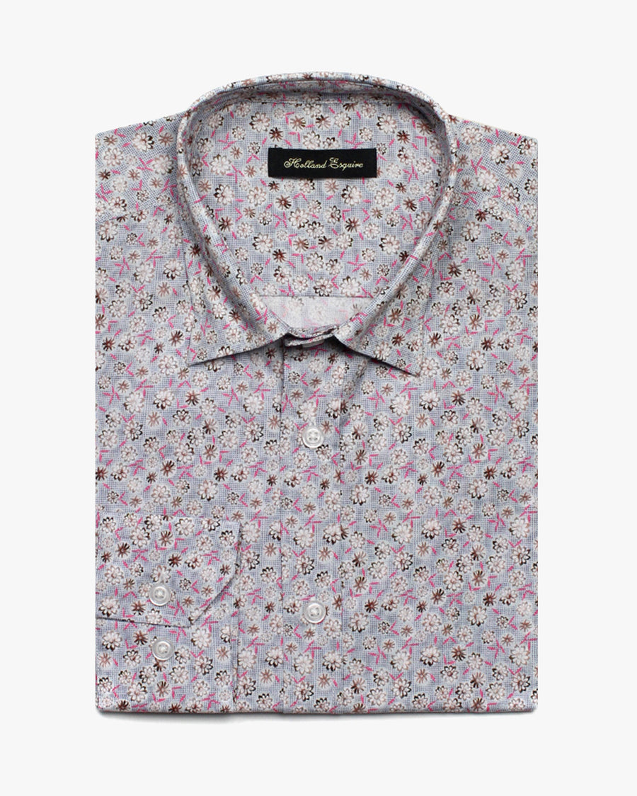 Blue Liberty Dot Flowers Button Under Shirt - Holland Esquire
