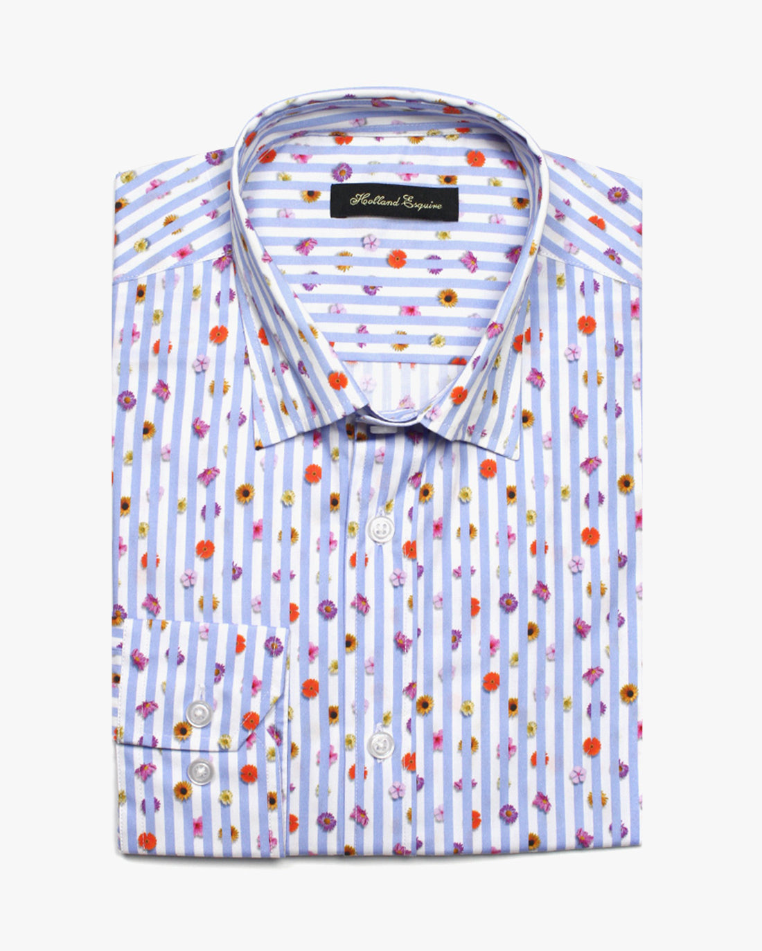 Blue Liberty Flower Stripe Button Under Shirt - Holland Esquire