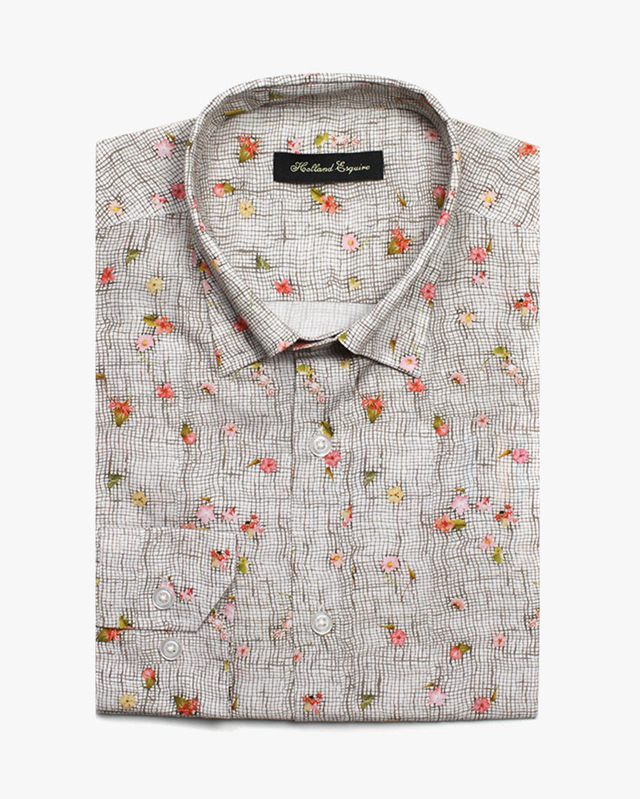 Brown Liberty Flower Check Button Under Shirt - Holland Esquire