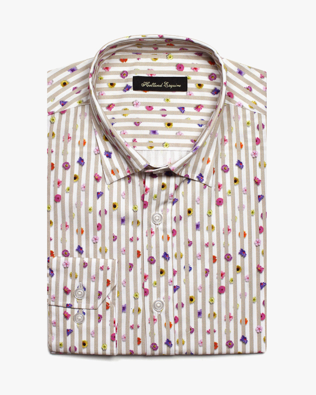 Beige Liberty Flower Stripe Button Under Shirt - Holland Esquire