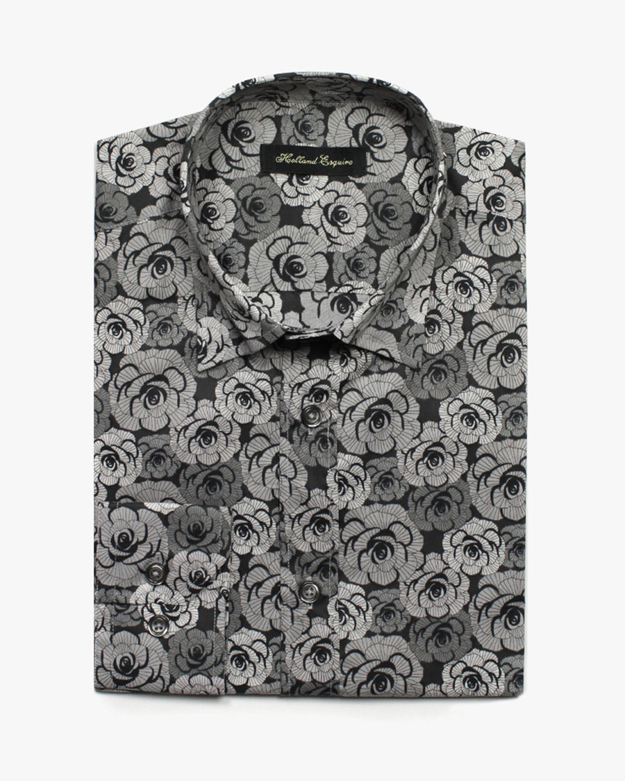 Grey Liberty Roses Button Under Shirt - Holland Esquire