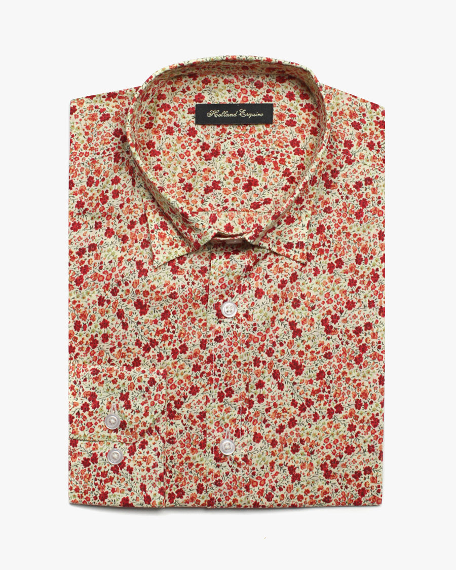 Red Liberty Posy Button Under Shirt - Holland Esquire