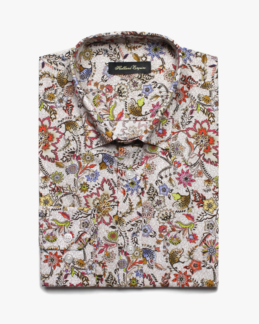 Beige Liberty Yodel Flower Button Under Shirt - Holland Esquire