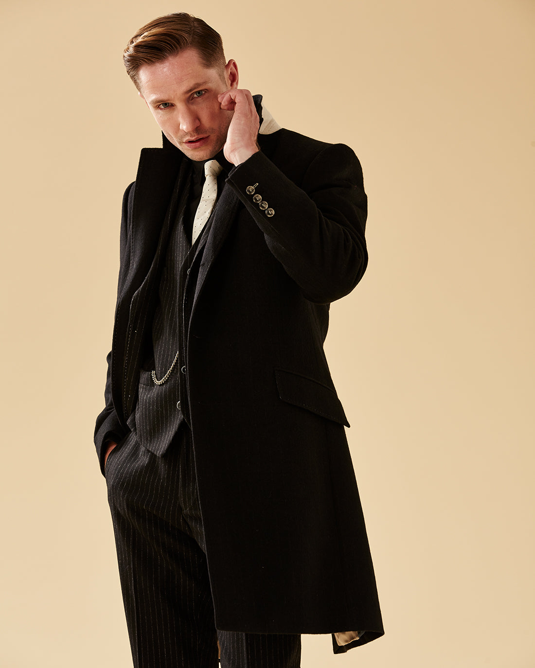 Black Pinstripe SB3 Overcoat - Holland Esquire