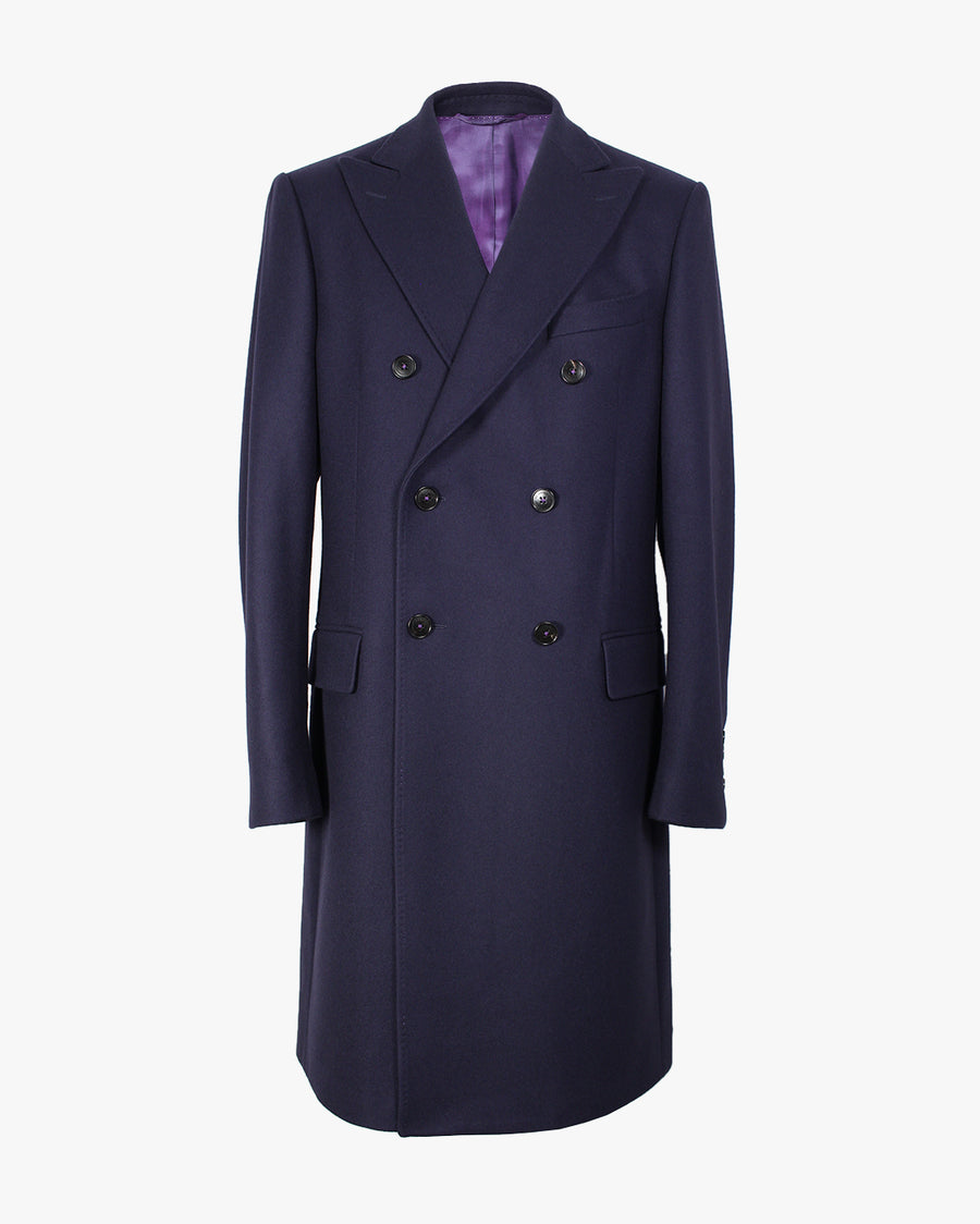 Navy Melton Double Breasted Overcoat