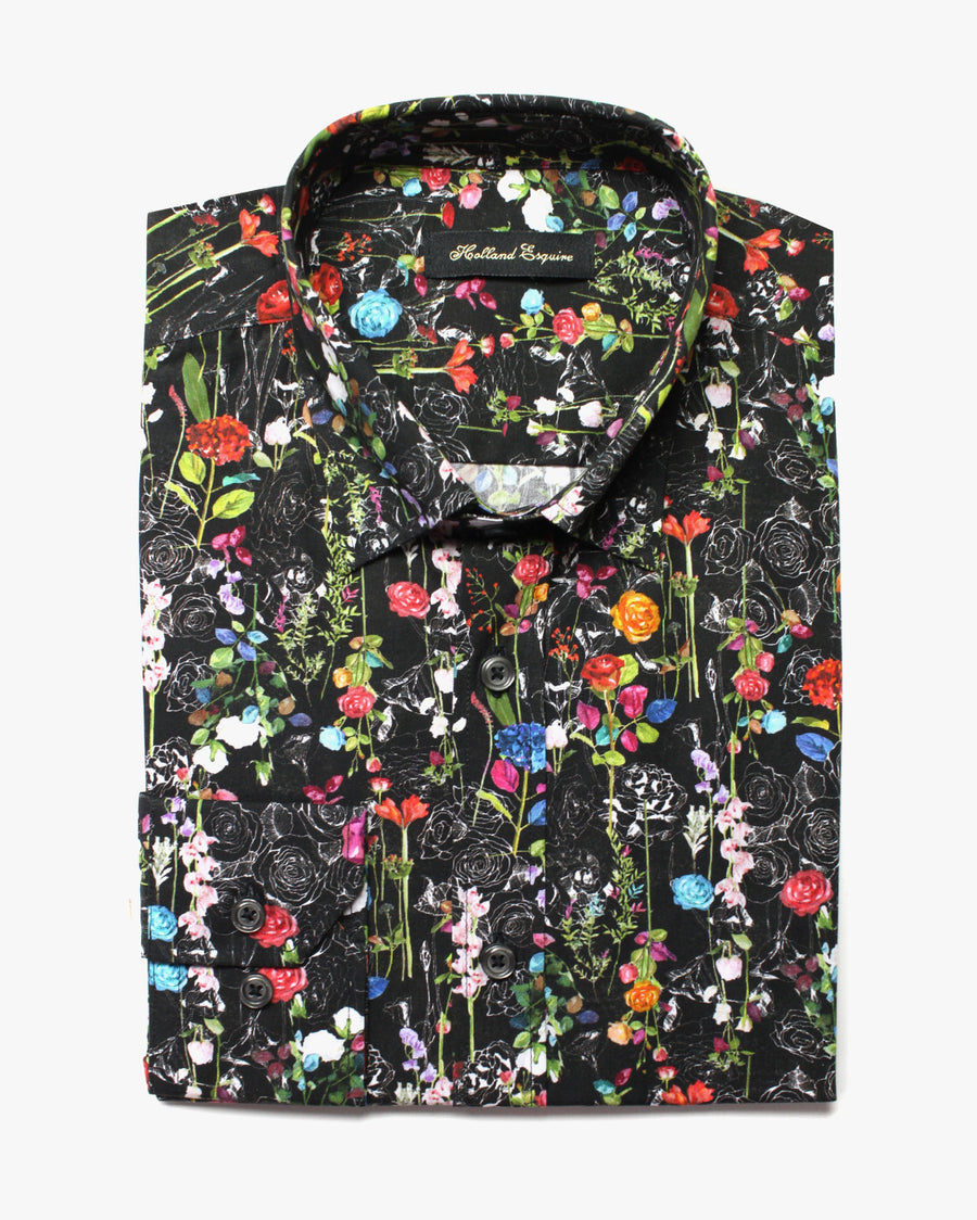 Black Liberty Wildflower Button Under Shirt - Holland Esquire