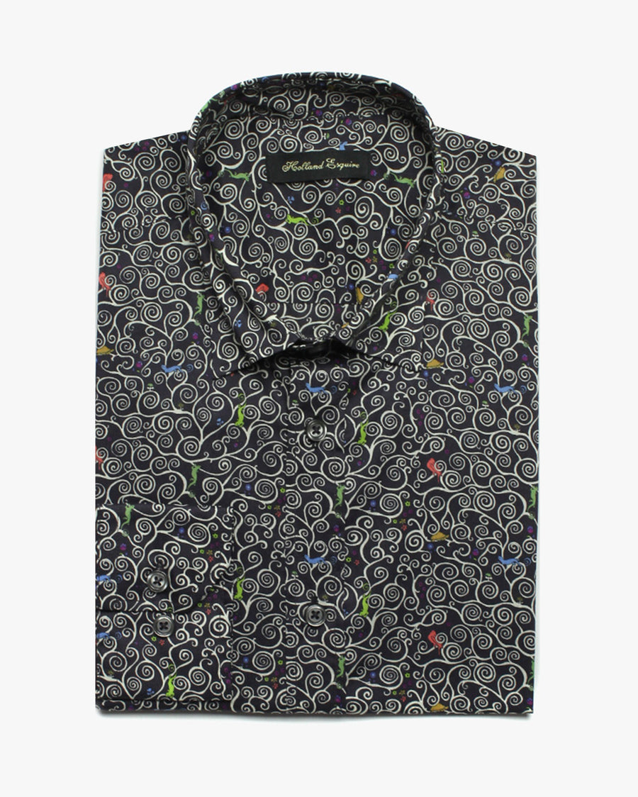 Navy Liberty Birds Button Under Shirt - Holland Esquire